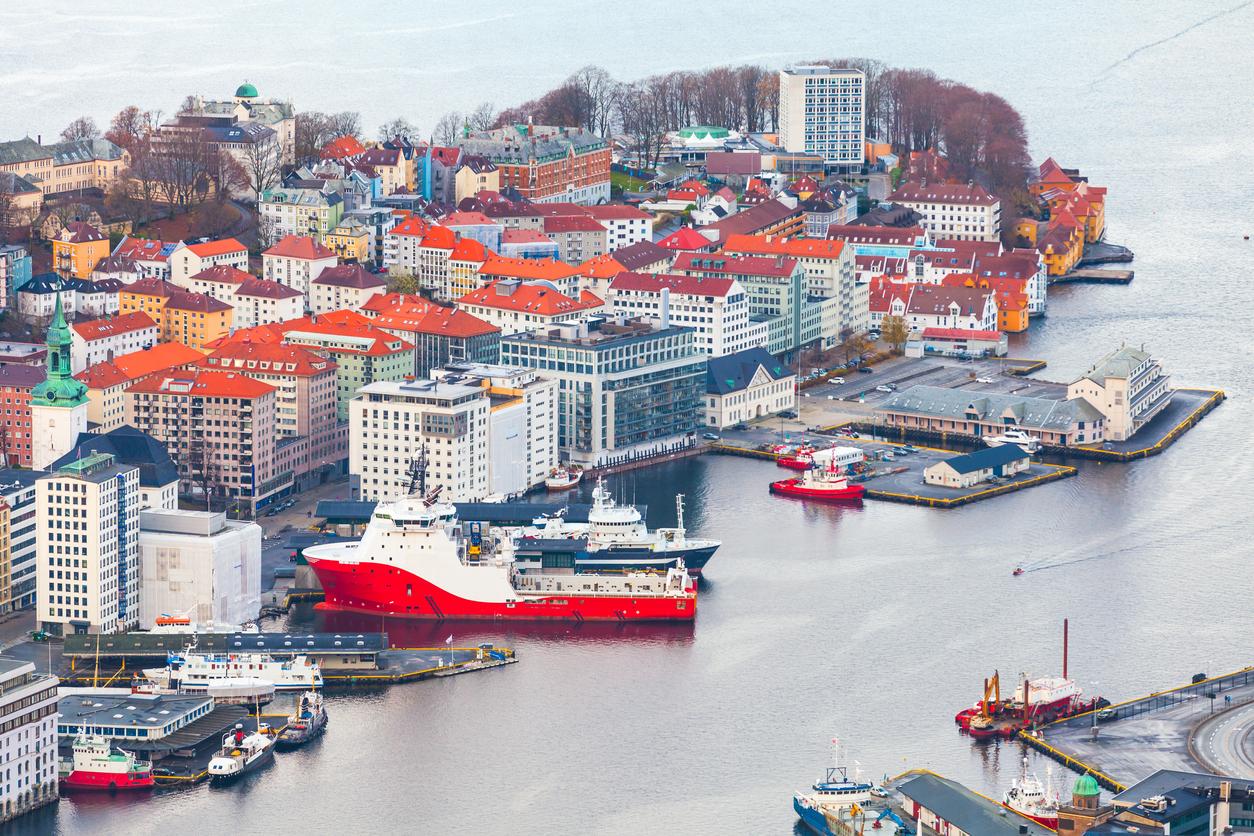Bergen Havn fra luften Vill Plan